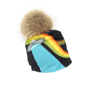 Flying saucers beanie hat with remouvable natural pompon beanies illustrated by professional artist André Martel.