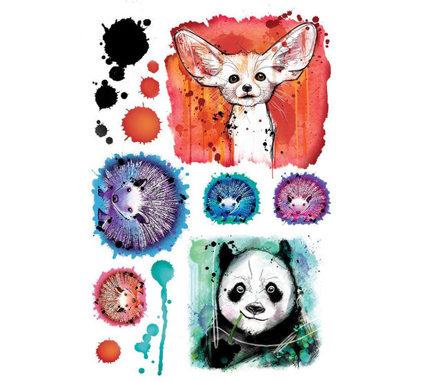 Designed by real tattoo artist Julie L'Ecuyer, this beautiful collection of children watercolor tattoos includes a fennec, a panda and a family of  four hedgehogs