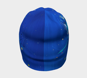 Back view of the best ski beanie hat by Lalita's Art Shop. Blue Abstract by Megan Fortin