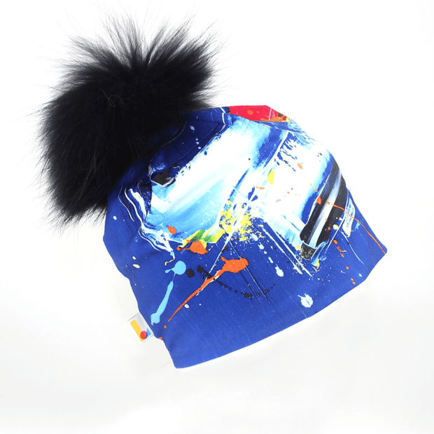 Abstract Blue Beanie With Removable Pompom