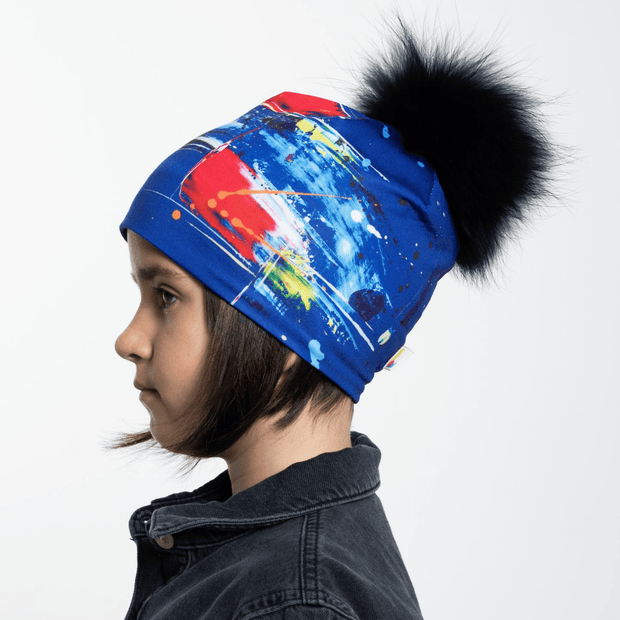 Tuque unisexe à Pompon amovible abstraction bleue