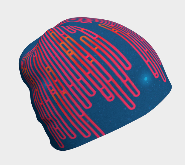 Right side view of the bamboo Blue Loops beanie for adults and children.  Breathable, best ski hat.