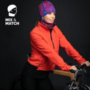 Woman rearing the Blue Loops Toque when cycling.