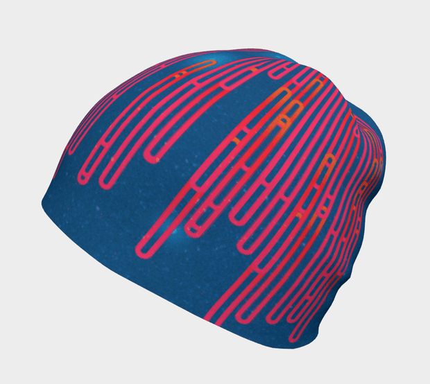 Left side view of the Abstract patterned Blue Loops tuque illustrated by Zaire, Carl-Hugo Poirier.
