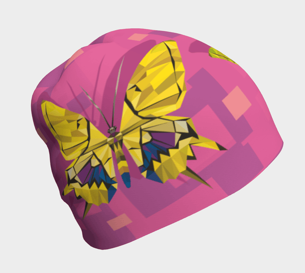 Left side view of the pink and yellow Grow-with-me beanie illustrated by wild life painter Claude Thivierge.