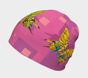 Right side view of the bamboo beanie for adults and children with butterflies pattern. made with bamboo, breathable, best ski hat.