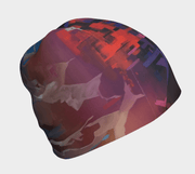 Right side view of the Lalita's Art Shop City Beanie hat illustrated by Ankhone