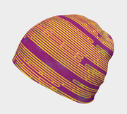 Left side view of the Abstract yellow and green patterned Magenta tuque illustrated by Zaire, Carl-Hugo Poirier.
