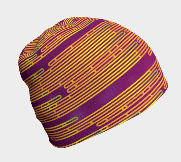 Right side view of the bamboo Magenta beanie for adults and children.  Breathable, best ski hat.