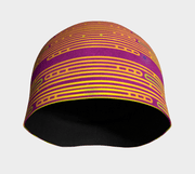 Front view of Abstract Pink, yellow and green sports toque Beanie.