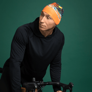 Men cycling bamboo hat. This orange abstract patterned toque will add colours to any outfits!