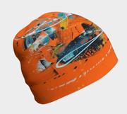 Left side view of the abstract orange men beanie hat.