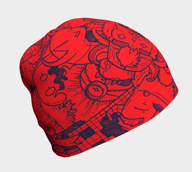 Right view of this red and navy blue children beanie hat. Illustrated by André Martel, this toque showcases a great doodle of monsters characters.