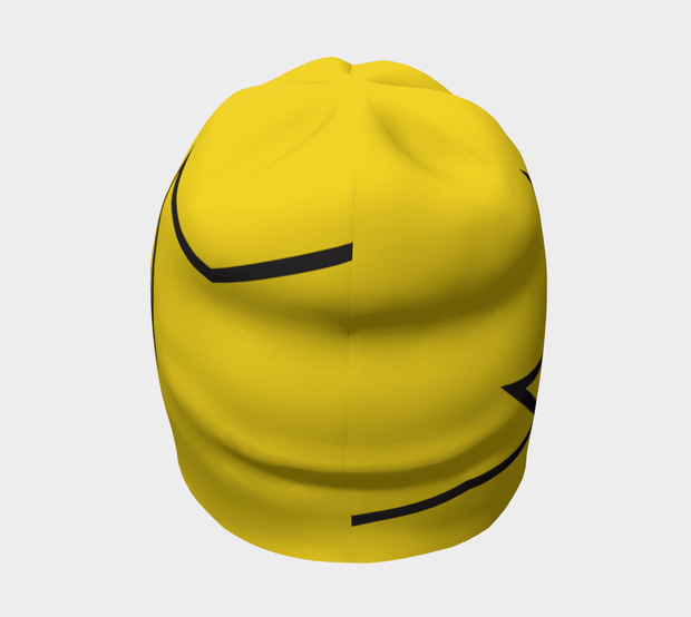 Back view of Lalita's Art Shop Broken line Grow-with-me beanie is the perfect hat to wear season after season and under your helmet. This Yellow and black tuque is breathable with its bamboo lining and super comfortable