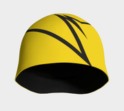 Front view of Lalita's Art Shop Broken line Grow-with-me beanie is the perfect hat to wear season after season and under your helmet. This Yellow and black tuque is breathable with its bamboo lining and super comfortable