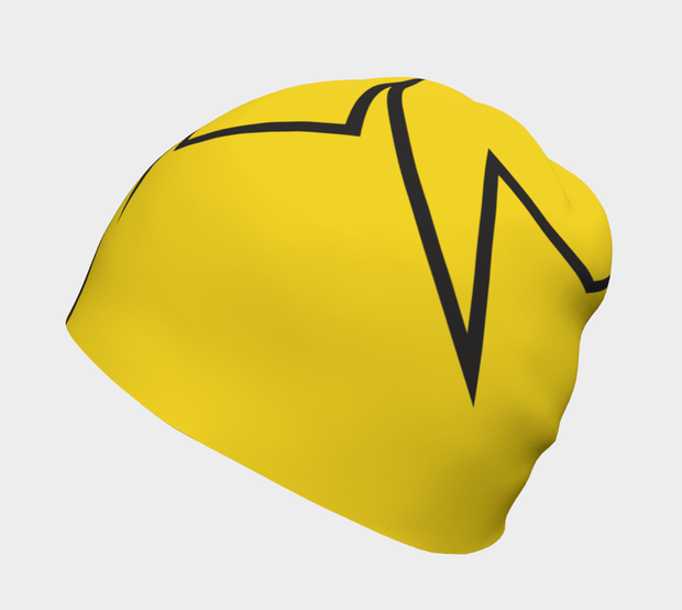 Side view of Lalita's Art Shop Broken line Grow-with-me beanie is the perfect hat to wear season after season and under your helmet. This Yellow and black tuque is breathable with its bamboo lining and super comfortable