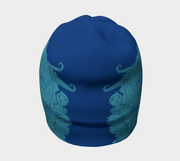 Rear view of Lalita's Art Shop kid's toque Lalita's Art Shop creates the coolest beanie collection for kids! This blue Knights and Dragons children beanie hat was design by cartoon artist Andre Martel