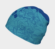 Right side view of Lalita's Art Shop blue Knights and Dragons kids  beanie hat