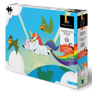 100 pieces puzzle for children illustrating a rainbow unicorn by professionnal artist kevin bouchard