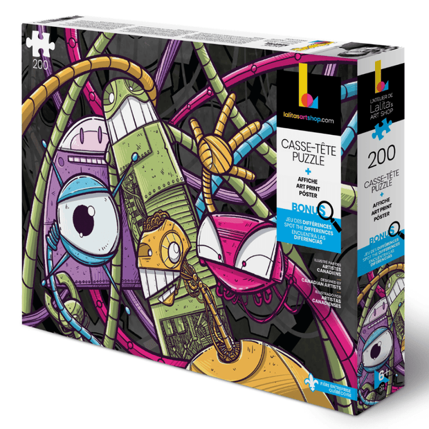 This new puzzle for children is illustrated by professional artist Andre Martel and is showcasing friendly and colourful robots. perfect for boys 1