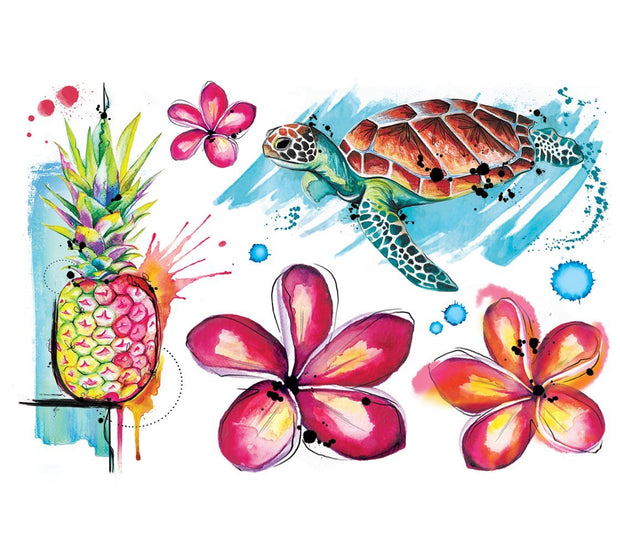 Lalita's Art Shop real art, fake Tattoo presents this cool collection of watercolor realistic temporary tattoos.  This vibrant colored Hawaiian Collection created professional tattoo artist Julie L'Ecuyer includes a sea turtle, a pineapple, and 3 Plumeria flowers!