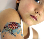 Accessorize your skin with a cool work of Art with this beautiful and realistic sea turtle Temporary Tattoo by Lalita's Art Shop!