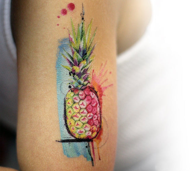 Accessorize your skin this cool watercolour Pineapple from the Hawaiian Collection of Real Art, Fake tattoos by Lalita's Art Shop illustrated by professional tattoo artist Julie L'Ecuyer!