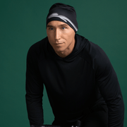Men black beanie hat ideal for sports.