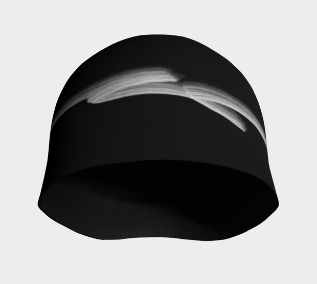 Front view of the Signature beanie hat illustrated by Lalita's Art Shop founder, Elise Charette. A classic black hat with a simple  white line.
