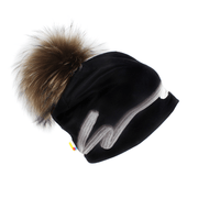 Right side view of the unisexe Signature black and white beanie hat. With a big natural recycled fur pompom.