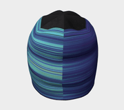 back view of the black beanie with blue, violet and turquoise pattern by Zairen