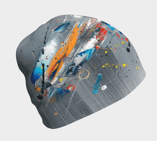 Right side view of the gray unisex bamboo beanie for adults and children with abstract pattern. Designed by Child prodigy, Megane Fortin, this sports hat is breathable and used as a helmet liner, becomes the best ski hat.