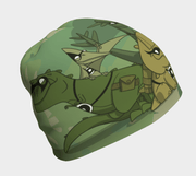 Side view of the coolest beanie for boys and girls! The Superhero Dinosaures! This green unisex bamboo beanie was illustrated by character designer Kevin Bouchard.