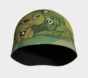 Front view of the Superhero dinos beanie illustrated by professional illustrator Kevin Bouchard.