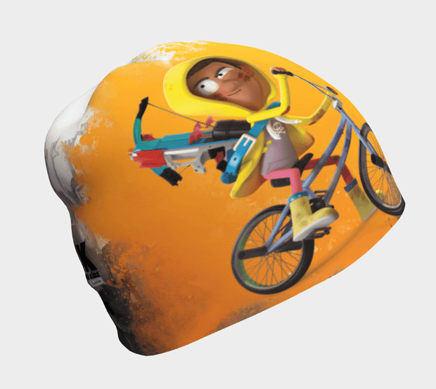 Side view of the coolest beanie for boys! The Zombie Kidz Bike Hero! This yellow, black and white  bamboo beanie was illustrated by illustrator NIKAO for the Zombie Kidz game by the canadian editor Scorpion Masqué. .