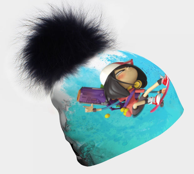 Discover the coolest kid's beanie ! In collaboration with the Canadian editor, Scorpion Masqué, Lalita's Art Shop presents the Zombie Kidz collection of amazing toques ! This hat has a removable pompom.