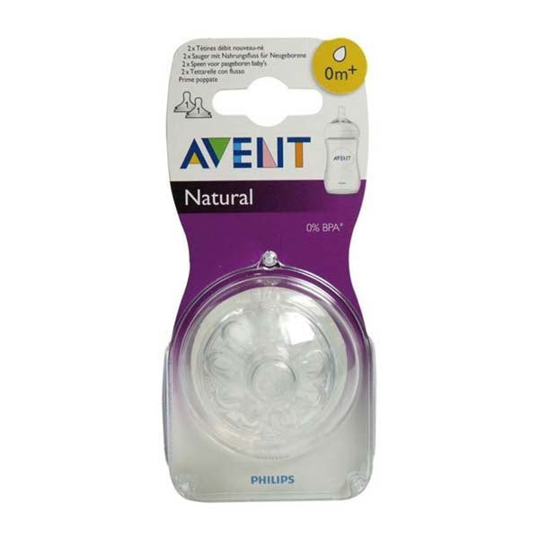 Avent Natural Θηλή Σιλικόνης 0m+ 2 Τεμάχια SCF651/27-pharmacybay
