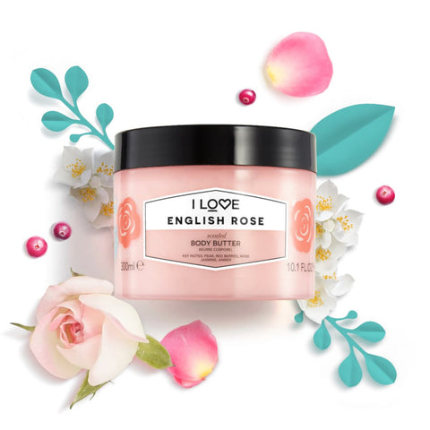I Love Cosmetics English Rose Scented Body Butter 300ml
