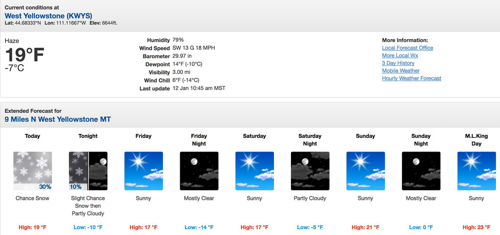 West Yellowstone Montana 7 day weather report for 01/12/2017