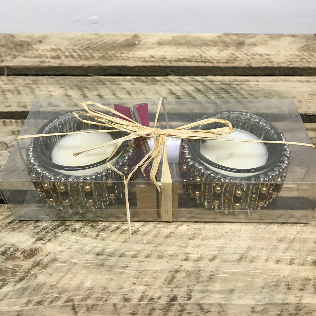 Beaded Tea Light Candle Set
