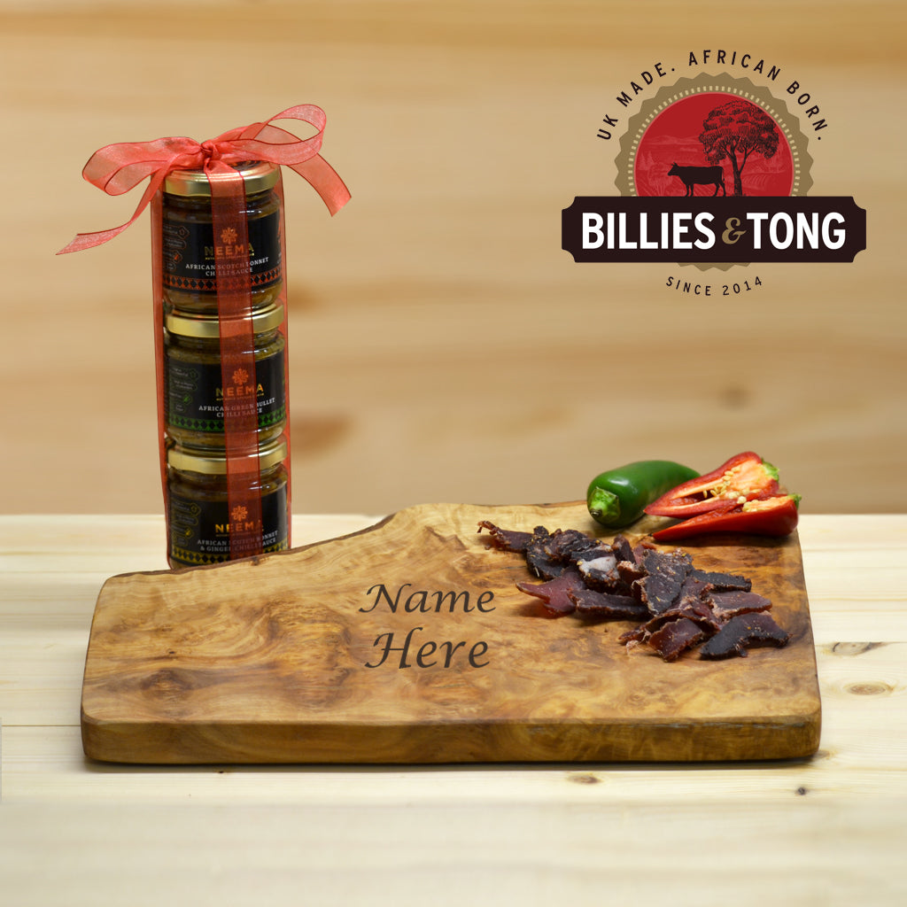 Personalised Chopping Board Gift Set With Neema Chilli Sauces