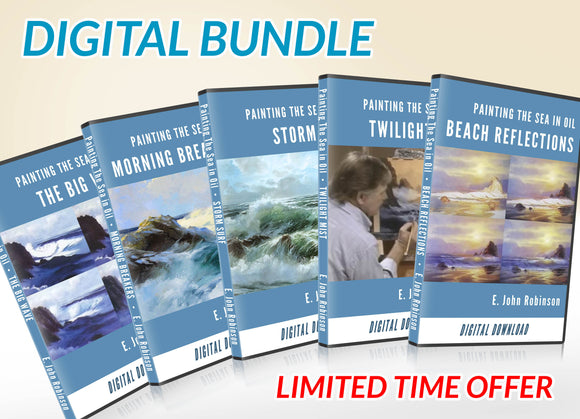 DIGITAL BUNDLE: All 5 Original E John Robinson Seascape Painting Videos & FREE ebook