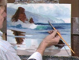Image: E. John Robinson painting the sea in oil - beach reflections