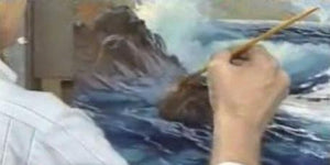 Image: E. John Robinson demonstrating how to paint the sea in oil - morning breakers (digital version)