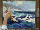 Image: E. John Robinson painting the sea in oil - morning breakers