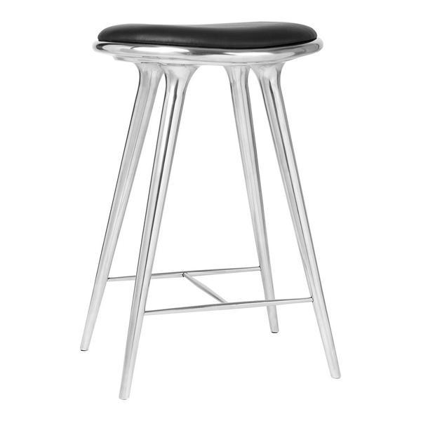 Mater High Stool - Counter Height Beech - Dark Stained / Black Leather Seat