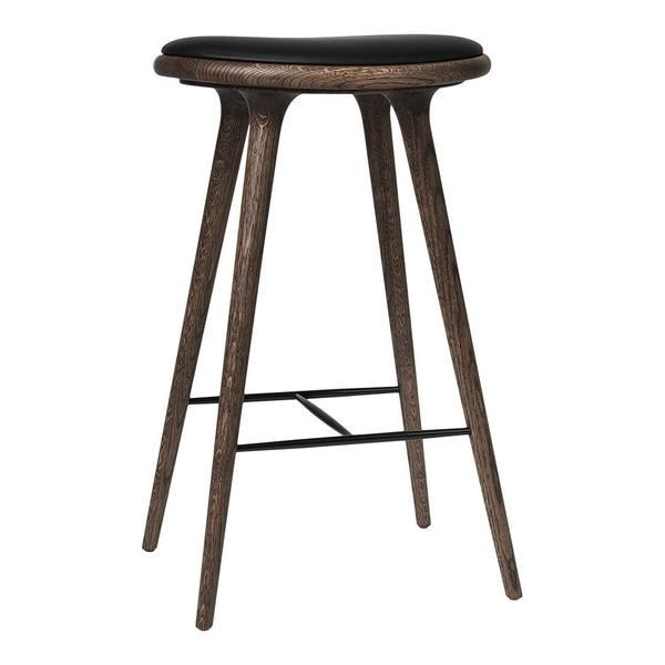 Mater High Stool - Bar Height Beech - Dark Stained Black Leather