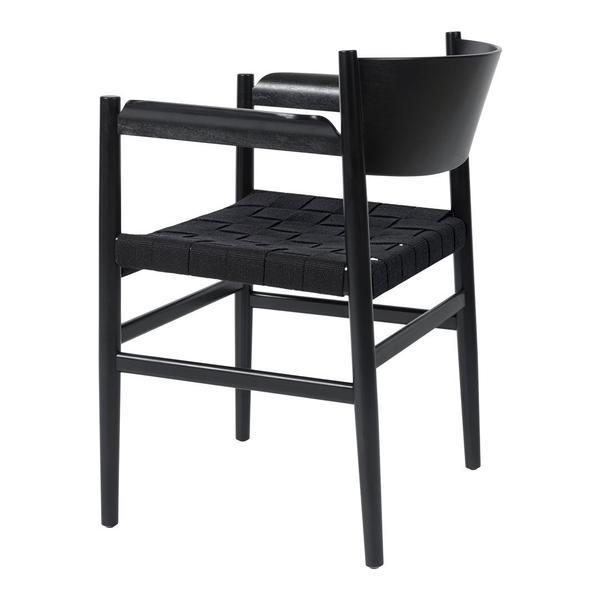 Mater Nestor Dining Armchair Beech - Black Stained Black Paper Cord