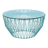 BEND Drum Ottoman Table Peacock Glass Top