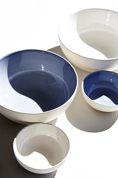Canvas Home Shell Bisque Cereal Bowl - Set of 4 Blue